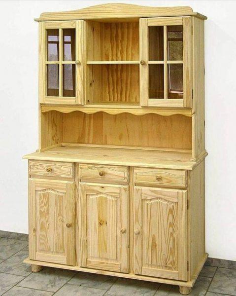 بوفه ویترین چوب کاج , میز و ویترین چوبی