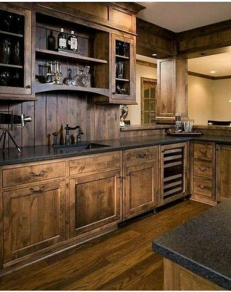 دکوراسیون چوبی آشپزخانه، کابینت تمام چوب