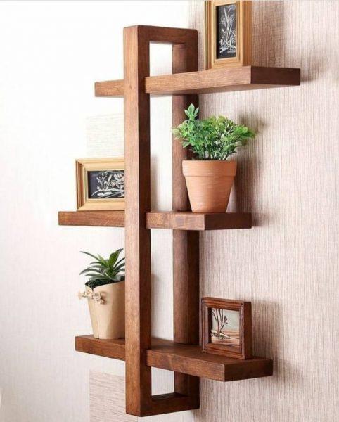 شلف و جای گدان چوبی ساخته شده از چوب کاج روسی با رنگ گردویی مینوکس