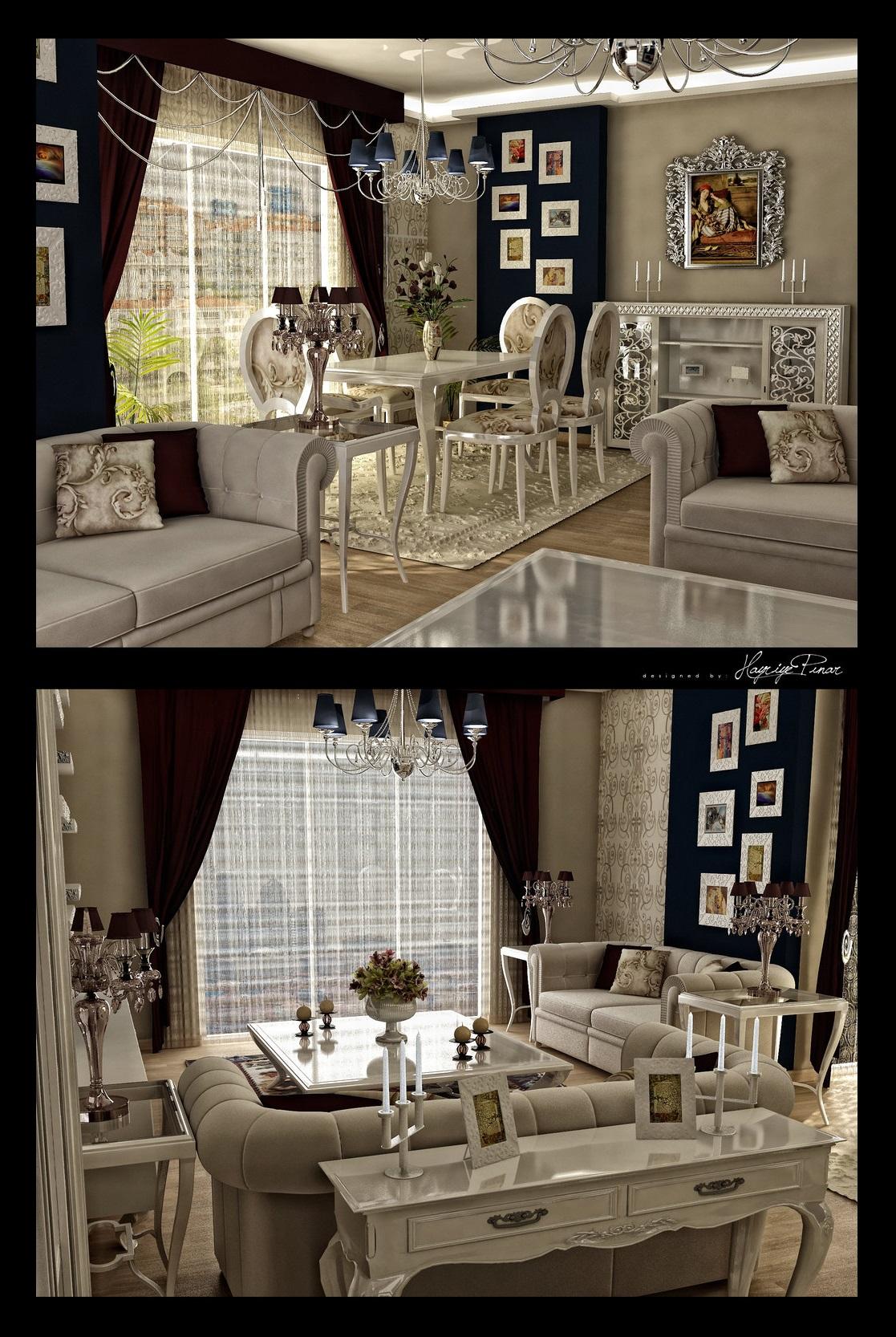 سبک کلاسیک مدرن پذیرایی این اتاق به نظر می رسد کلاسیک مدرن