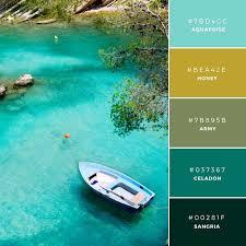 پالت رنگ آبی و زرد و سبز