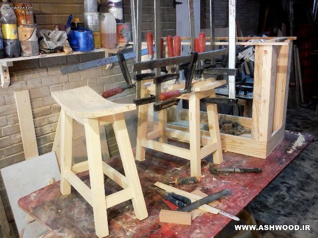 نمونه کار دکوراسیون چوبی میز و صندلی چوبی جالب