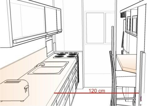 فاصله استاندارد دو کابینت در مقابل هم در یک آشپزخانه : 120 سانتی متر