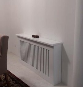ساخت کاور شوفاژ , کاور رادیاتور , میز کنسول چوبی رنگ سفید