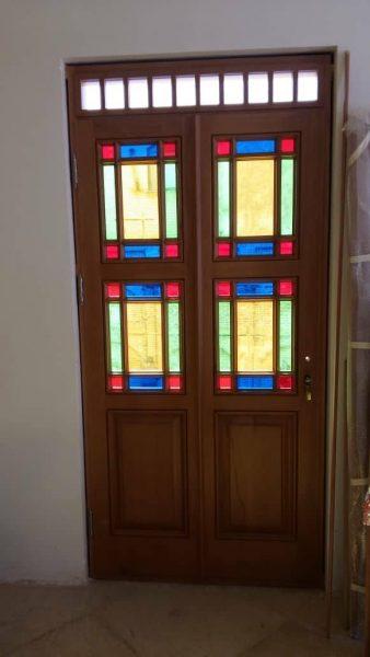 طراحی و ساخت درب چوبی سنتی عمارت قزوین , درب گره چینی