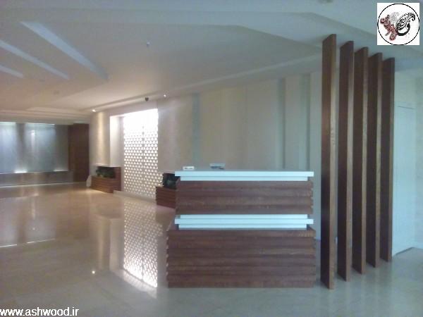 لابی ساختمان فرمانیه ، نمونه کار پارادایز , دکوراسیون چوبی لابی