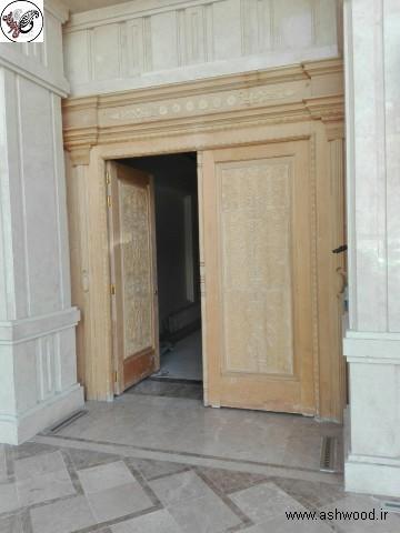 درب چوبی , منبت کاری درب ورودی ساختمان درسا , تهران منطقه قلهک