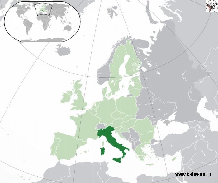 جایگاه کشور ایتالیا بر روی کره زمین