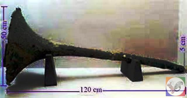 Karna، یکی از آلات موسیقی فارسی باستان، قرن 6 قبل از میلاد، موزه تخت جمشید.