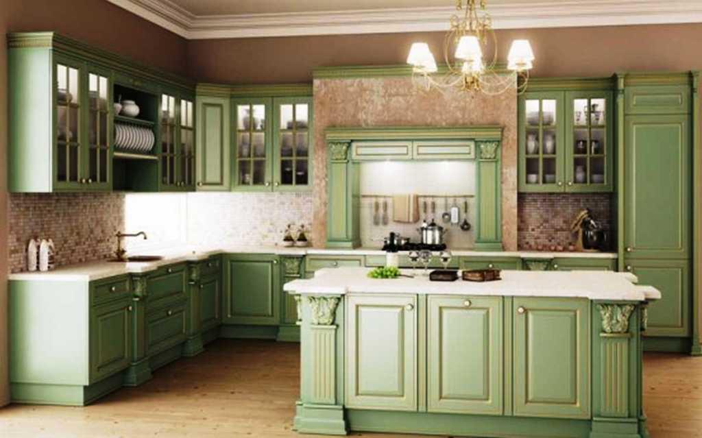 دکوراسیون کلاسیک با رنگ سبز و سفید