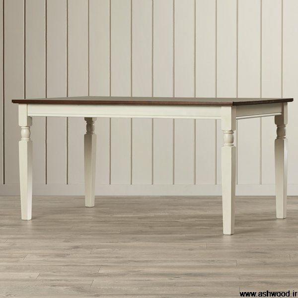 انواع میز چوبی ناهار خوری با پایه خراطی , میز مستطیل