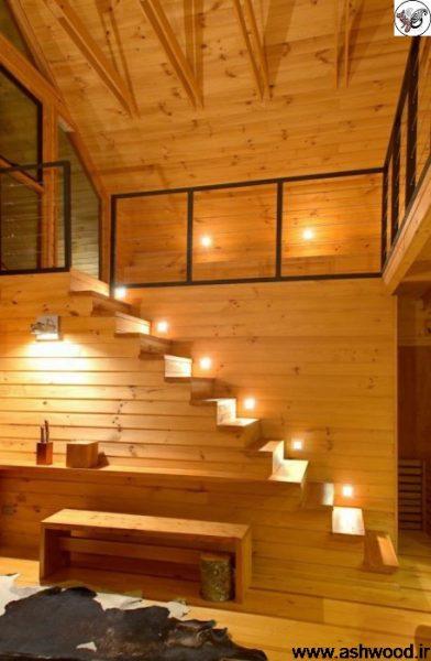 کلبه چوبی , لمبه و پله با نورپردازی برای هر پله