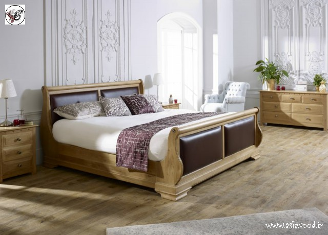 مدل تخت خواب چوب بلوط، سرویس خواب تمام چوب