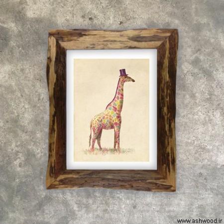 قاب چوبی سبک روستیک , قاب آینه , قاب عکس چوب طبیعی