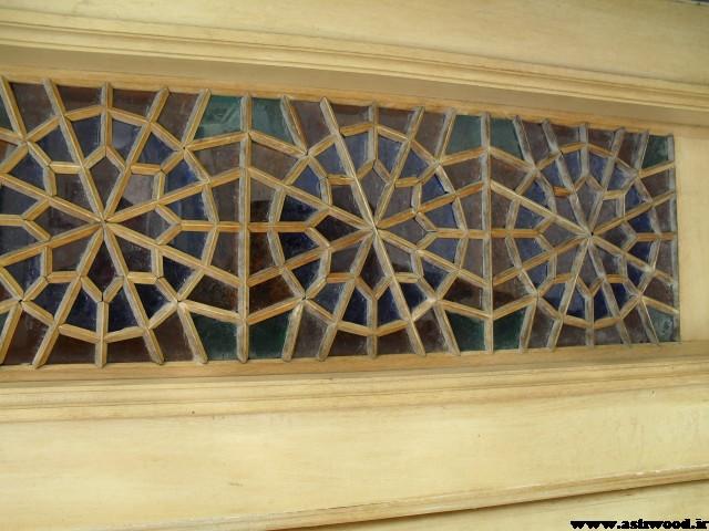 درب مسجد شهرک غرب گره چینی با چوب کاج روسی