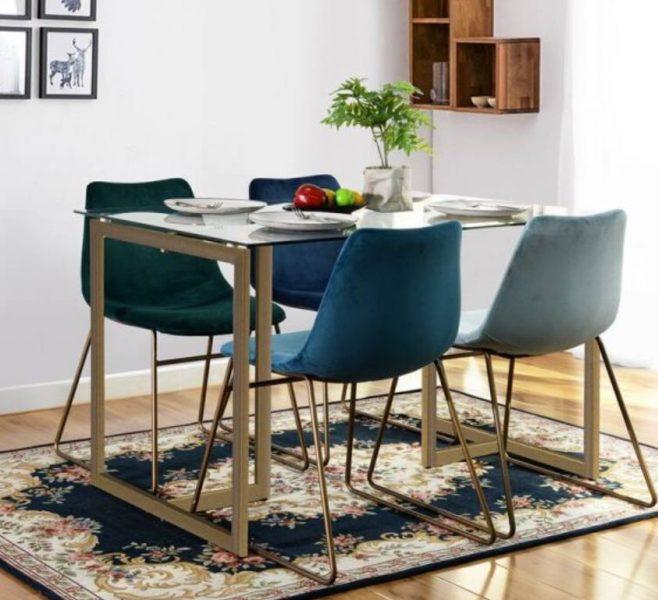 میز ناهار خوری مستطیل طلایی با صفحه شیشه ای