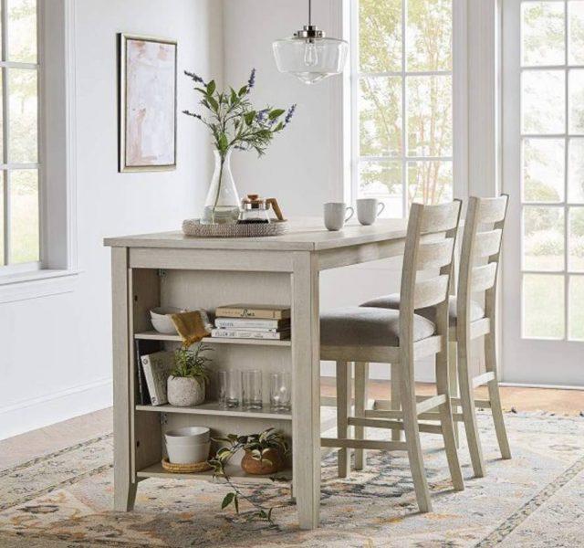 میز ناهار خوری مستطیل بلند و با قفسه ذخیره سازی