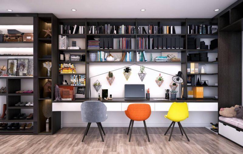 میز اداری خانگی با صندلی های رنگی زیبا