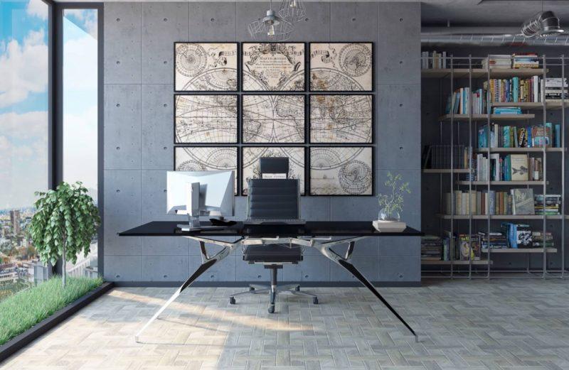 میز برای محل کار با دکوراسیون چوبی
