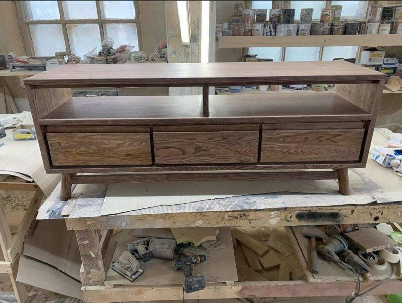میز تلویزیون روکش بلوط , چوب بلوط