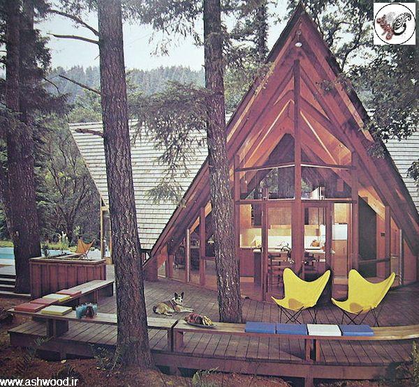 ساخت کلبه های چوبی A ، تزئین دکوراسیون خارجی بوسیله چوبهای کهنه و تنه خشک درختان و پوست و شاخه خشک درخت، ساخت آلاچیق