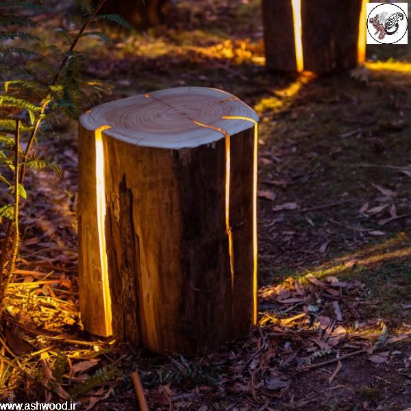 تزئین دکوراسیون خارجی بوسیله چوبهای کهنه و تنه خشک درختان و پوست و شاخه خشک درخت، ساخت آلاچیق