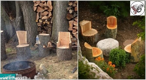 تزئین دکوراسیون خارجی با تنه درخت ، پوست درخت و شاخه