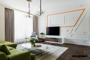 ایده تزئین اتاق نشیمن , دیوار و میز تلویزیون جالب و جدید 2018