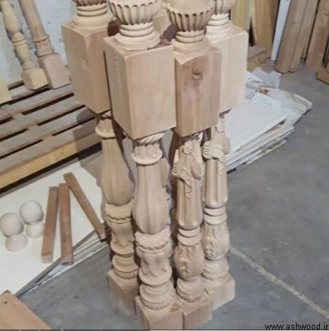 نرده خراطی پله چوبی , نمونه پایه نرده خراطی و cnc