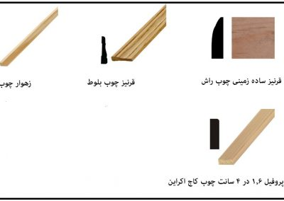 انواع روکوب , قرنیز , زهوار , قاب درب و پنجره چوبی , چوب روسی - قرنیز - لمه - سونا - چهار تراش - چهارچوب درب