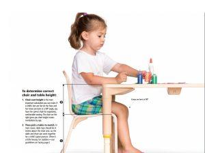 میز و صندلی , ابعاد استاندارد برای میز و صندلی کودک