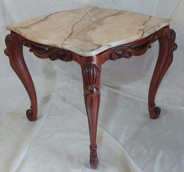 میز چوب راش , میز منبت کاری شده با صفحه طرح سنگ