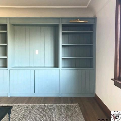 کمد و قفسه کتاب , قفسه کتاب دیواری , قفسه کتاب چوب خالص