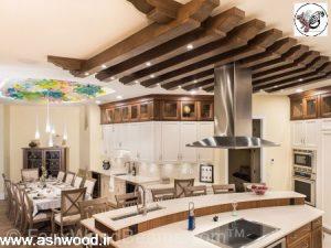 دکوراسیون آشپزخانه چوبی ، سقف کاذب لمبه و تیرچه چوبی