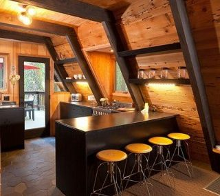 نما ، پلان ، ایده و زیرسازی و پی سازه های چوبی مثلثی شکل ، A شکل کلبه جنگلی و آلاچیق چوبی ، کلبه شله