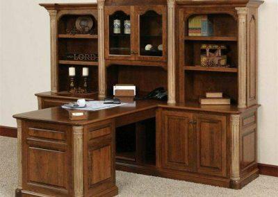بوفه ویترین چوبی , قفسه و کمد چوبی ایستاده , کتابخانه لوکس تمام چوب , میز تحریر کتابخانه دار