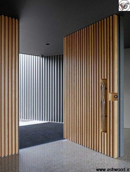 درب ورودی ساختمان تمام چوب , سبک ویلایی