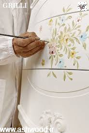 هنر رنگکاری و نقاشی روی دکوراسیون چوبی