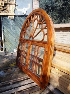 Latticed wooden windows with tinted glass