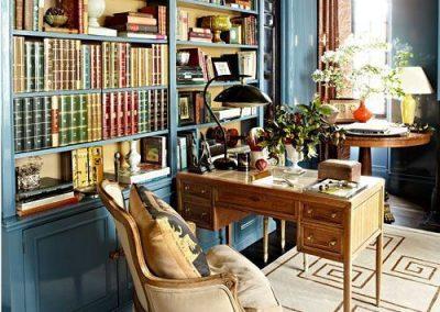 کتابخانه رنگ آبی در دکوراسیون داخلی , پالت رنگ آبی و زرد و سبز