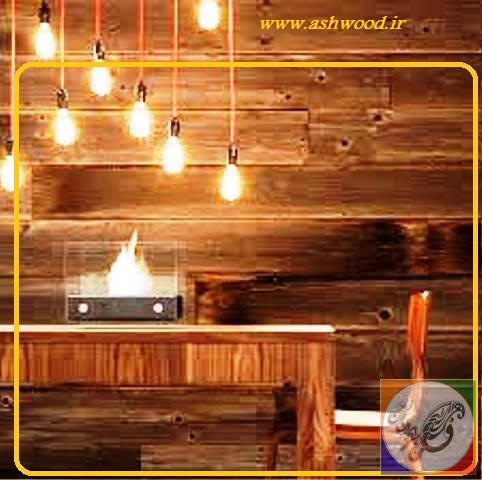 دیوار اتاق نهار خوری دکوراسیون چوبی ، چوب کاج