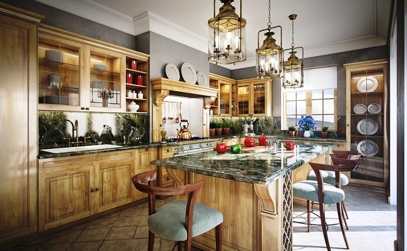 عکس کابینت آشپزخانه کلاسیک چوبی