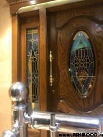 درب ورودی ساختمان , درب تمام چوب و روکش بلوط , درب لابی