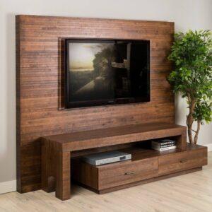 ایده جدید میز تلویزیون دیواری , دکوراسیون چوبی دیوار tv