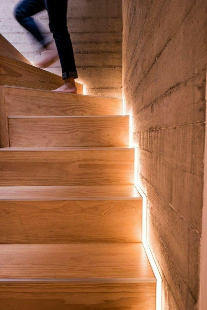 نورپردازی پله چوبی