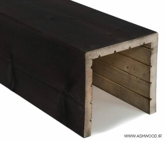 تیر چوبی تو خالی ساخته شده از چوب کاج روسی با رنگ مخصوص به سبک روستیک , ستون چوبی