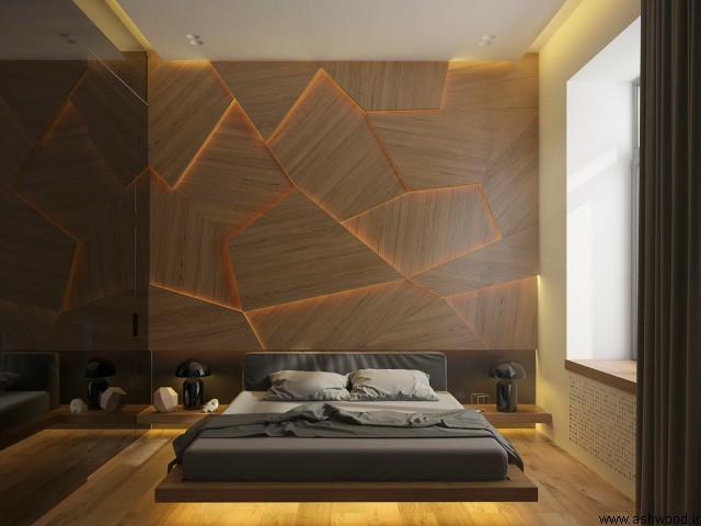 دیوار چوبی در دکوراسیون اتاق خواب