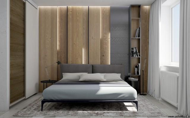 دیوار چوبی اتاق خواب , دیوار چوبی در ساختمان , طراحی داخلی با چوب , تزیین دیوار با چوب , دکوراسیون داخلی با چوب طبیعی , دکوراسیون اتاق خواب