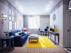 رنگ سفید آبی و زرد در دکوراسیون