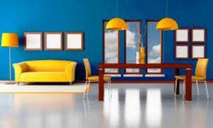 ترکیب رنگ ابی زرد در دکوراسیون چوبی